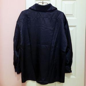 Tops - Oversized Satin Button-Up Shirt